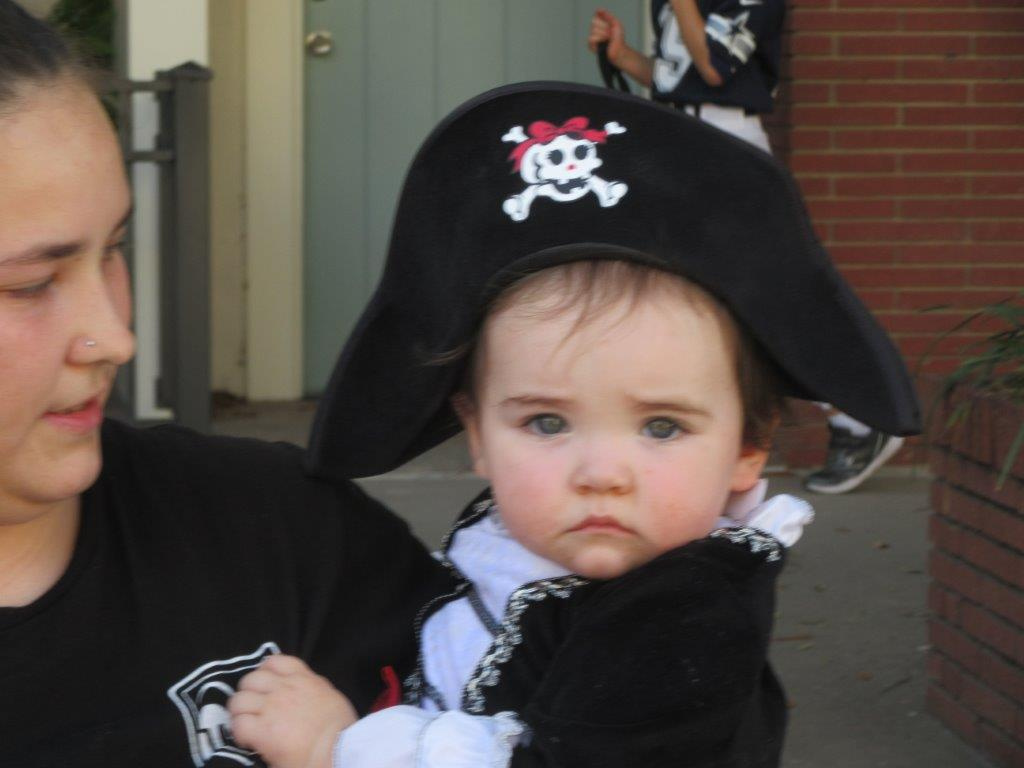 Toddler in pirate costume