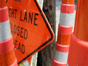 Right Lane Closed Ahead sign and cones