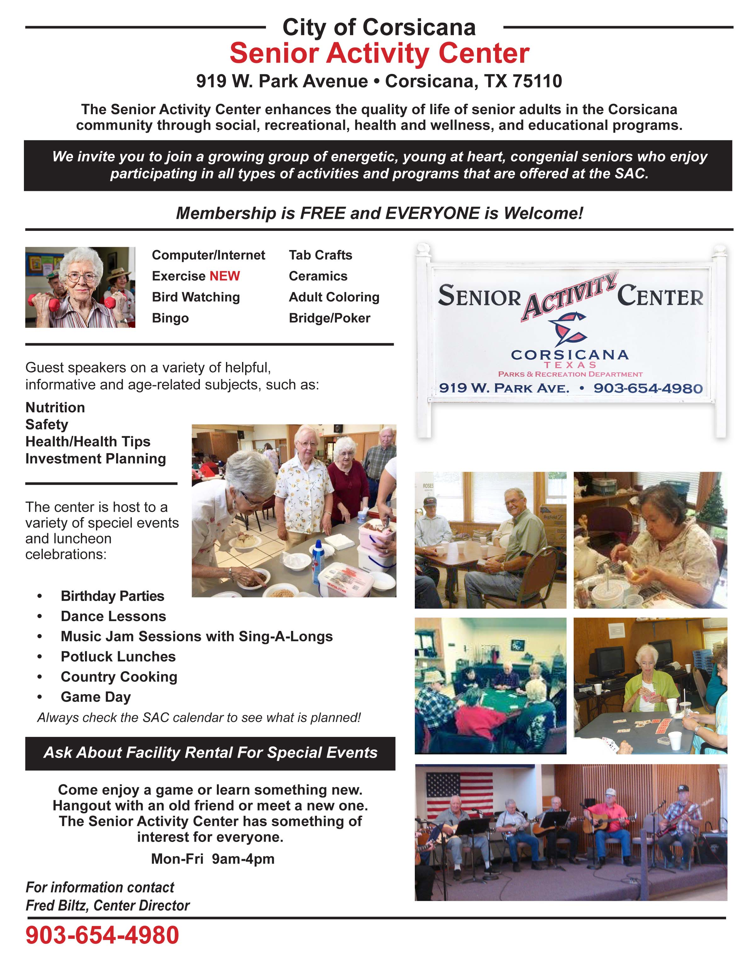 Senior Activity Center Website Information
