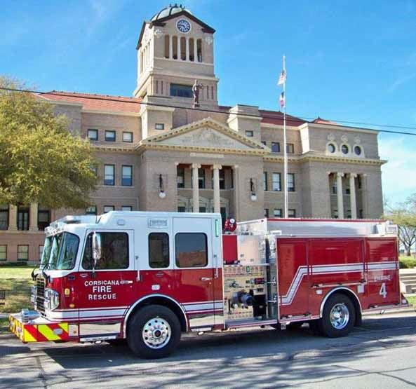 New Corsicana Fire Engine Parked in Front of Navarro County Courthouse March 2018