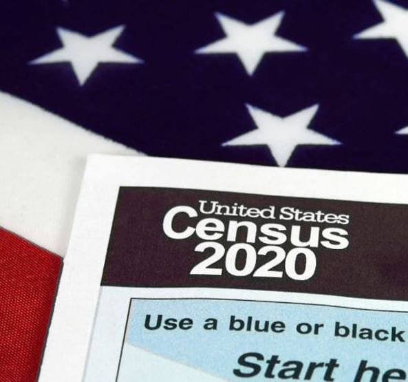Census 2020 Form with American Flag in Background