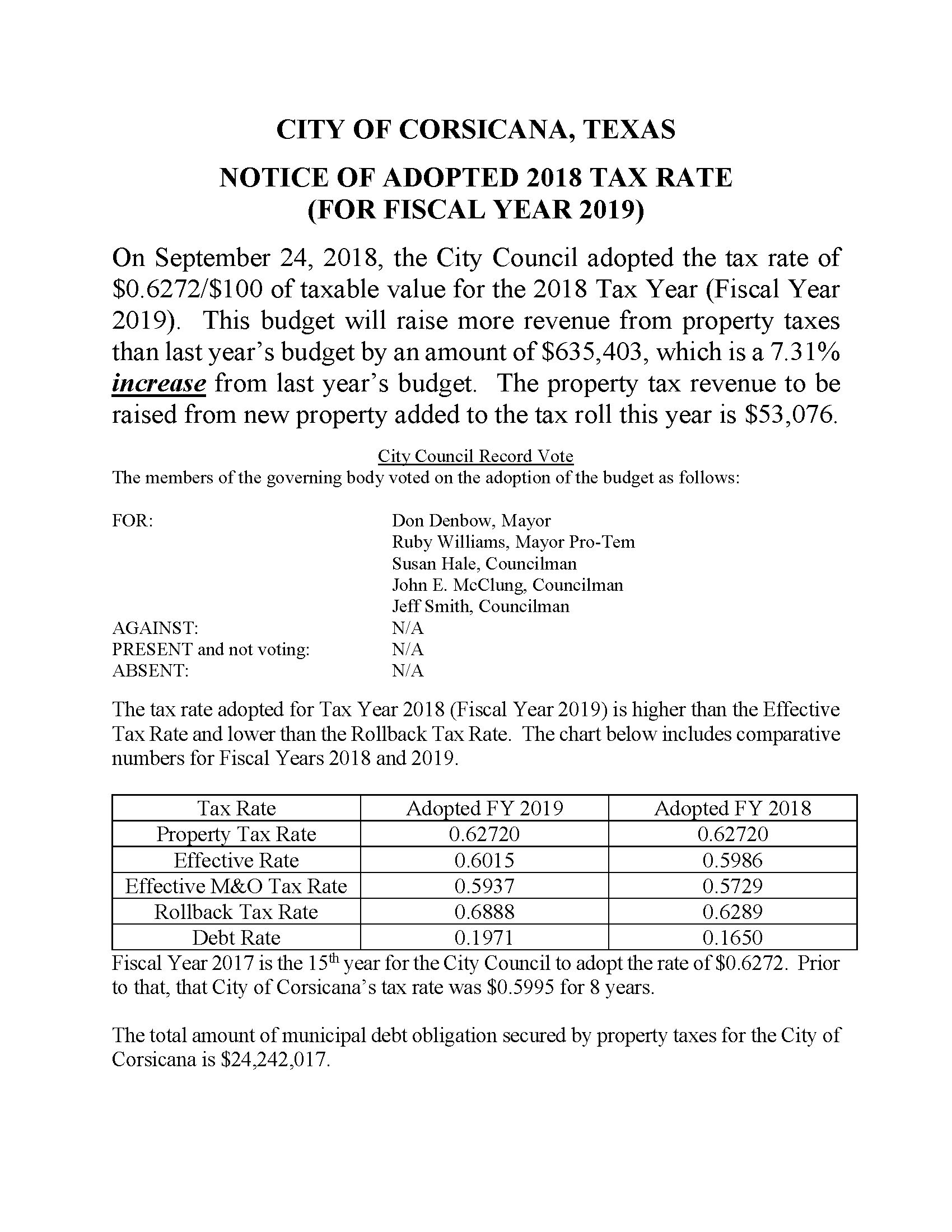 2018 Notice of Adopted Tax Rate with Record of Vote as Required by Local Government Code Chapter 102