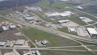 Aerial of transportation network in Corsicana, Texas